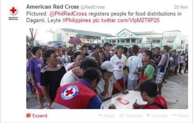 Red Cross Twitter update on Philippines relief