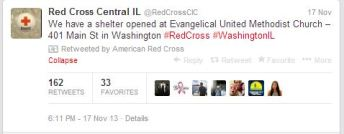 Red Cross Twitter update on shelter opened in Washington due to the tornado